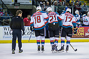 KELOWNA, CANADA - APRIL 30:  Scott Hoyer and Carsen Twarynski #18 of the Kelowna Rockets, Devante Stephens #21 of the Kelowna Rockets, Rodney Southam #17 of the Kelowna Rockets at the Kelowna Rockets game on April 30, 2017 at Prospera Place in Kelowna, British Columbia, Canada.  (Photo By Cindy Rogers/Nyasa Photography,  *** Local Caption ***