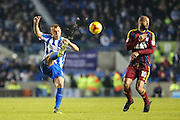 Brighton & Hove Albion central midfielder Steve Sidwell (14) clears the ball upfield during the EFL Sky Bet Championship match between Brighton and Hove Albion and Ipswich Town at the American Express Community Stadium, Brighton and Hove, England on 14 February 2017. Photo by Shane Healey.