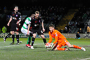 Carlisle Utd goalkeeper Mark Gillespie dives on a cross during the The FA Cup Third Round Replay match between Yeovil Town and Carlisle United at Huish Park, Yeovil, England on 19 January 2016. Photo by Graham Hunt.