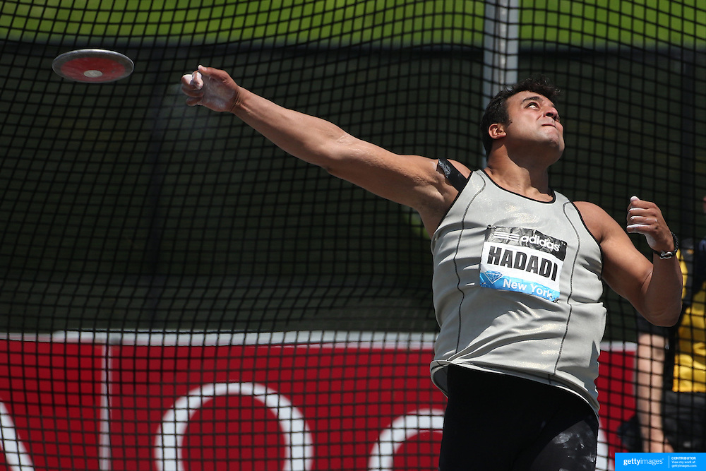 Ehsan Hadadi, Iran, in action during the Men's Discus competition during the Diamond League Adidas Grand Prix at Icahn Stadium, Randall's Island, Manhattan, New York, USA. 14th June 2014. Photo Tim Clayton
