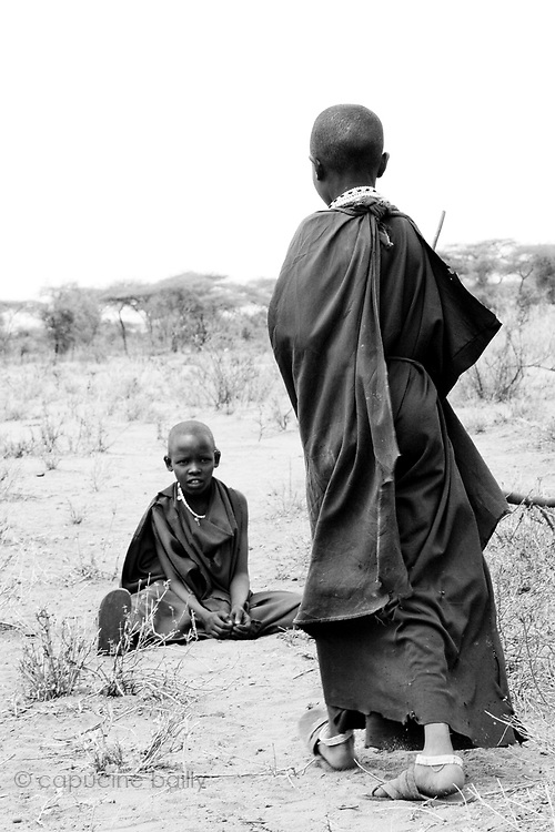 TANZANIA. Longido Mountain Area..August 3rd 2009..Maasai kids..