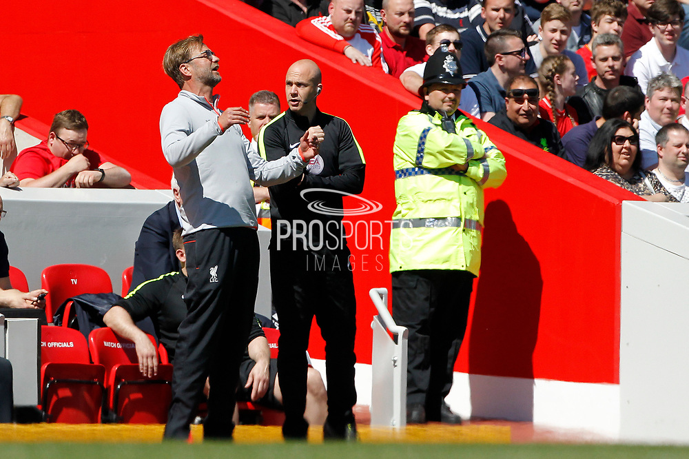 Liverpool Manager Jurgen Klopp shares his displeasure with 4th official A Taylor during the Premier League match between Liverpool and Southampton at Anfield, Liverpool, England on 7 May 2017. Photo by Craig Galloway.