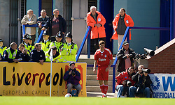 BIRKENHEAD, ENGLAND - Saturday, July 12, 2008: Liverpool's captain Steven Gerrard MBE prepares to take a corner during his side's first pre-season match of the 2008/2009 season against Tranmere Rovers at Prenton Park. (Photo by David Rawcliffe/Propaganda)