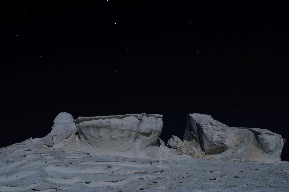The White Desert on a brilliant moonlit night