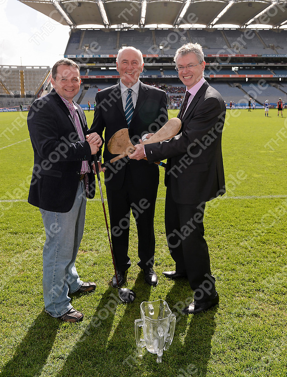 30 April 2013; Clare manager Davy Fitzgerald, former Kilkenny star Eddie Keher and former Derry star Joe Brolly at the launch of the 14th Annual All-Ireland GAA Golf Challenge in aid of Opt For Life and Local Waterford Charities. Croke Park, Dublin. Picture credit: Ray McManus / SPORTSFILE *** NO REPRODUCTION FEE ***