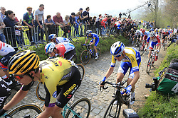 The peloton including Wout Van Aert (BEL) Jumbo-Visma, Bob Jungels (LUX) Deceuninck-Quick Step and Matteo Trentin (ITA) Mitchelton-Scott climb the Koppenberg during the 2019 Ronde Van Vlaanderen 270km from Antwerp to Oudenaarde, Belgium. 7th April 2019.<br /> Picture: Eoin Clarke | Cyclefile<br /> <br /> All photos usage must carry mandatory copyright credit (© Cyclefile | Eoin Clarke)