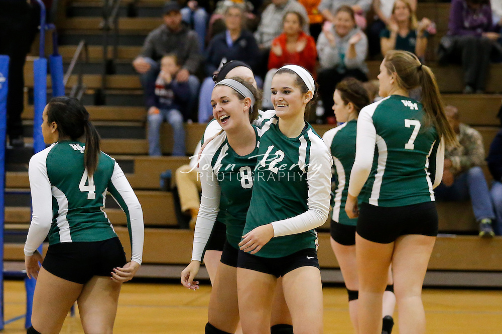 October 30, 2014.  <br /> William Monroe vs Warren, Bull Run District Volleyball Semi Finals.  William Monroe wins 3-0 and advance to play Madison on Saturday night in the finals.