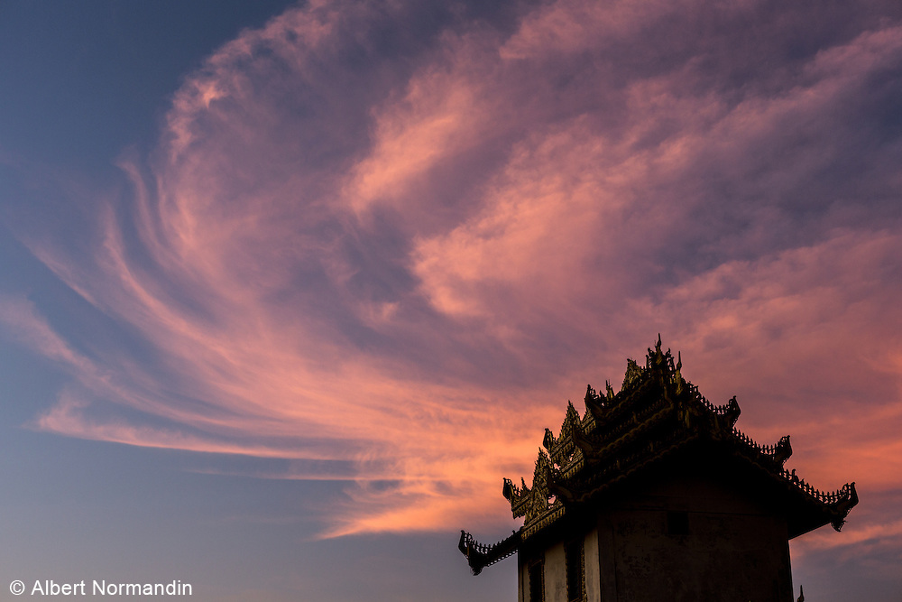 Pink clouds with Pagoda rooftop, Monywa