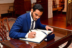 June 16, 2017 - Washington, DC, United States of America - Qatari Secretary to the Emir for Investments Sheikh Mohammed bin Hamad bin Khalifa Al Thani signs the guest book prior to meeting with U.S. Secretary of State Rex Tillerson at the Department of State June 16, 2017 in Washington, D.C. (Credit Image: © Glen Johnson/Planet Pix via ZUMA Wire)