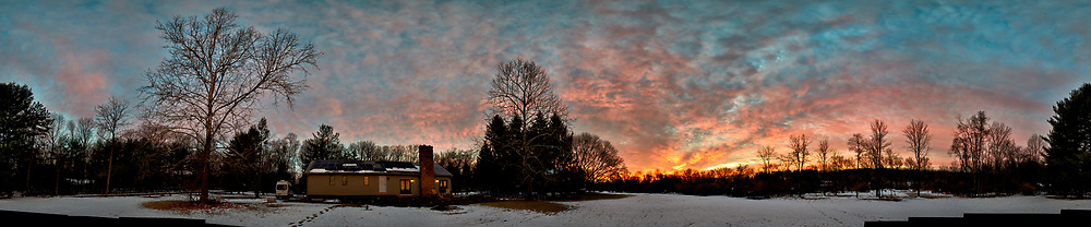 Three-hundred Sixty Degree Panorama of Dawn Winter Clouds and Sky Over New Jersey. Composite of 26 images taken with a Nikon D810a camera and 14-24 mm f/2.8 zoom lens (ISO 200, 24 mm, f/5.6, 1/30 sec). Raw images processed with Capture One Pro, Photoshop CC, and AutoGiga Pan Pro.