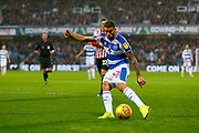 Rangers Nahki Wells shoots during the EFL Sky Bet Championship match between Queens Park Rangers and Brentford at the Loftus Road Stadium, London, England on 10 November 2018.