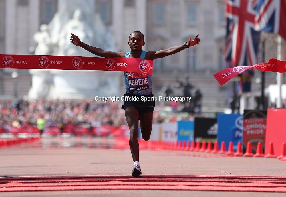 21st April 2013 - Virgin London Marathon - **** - Photo: Lee Mills / Offside.<br /> <br /> Tsegaye Kebede of Ethiopia wins the Mens Elite Race