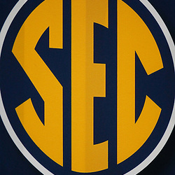 Dec 3, 2011; Atlanta, GA, USA; A detailed view of an SEC sign prior to kickoff of the 2011 SEC championship game between the LSU Tigers and the Georgia Bulldogs at the Georgia Dome.  Mandatory Credit: Derick E. Hingle-US PRESSWIRE