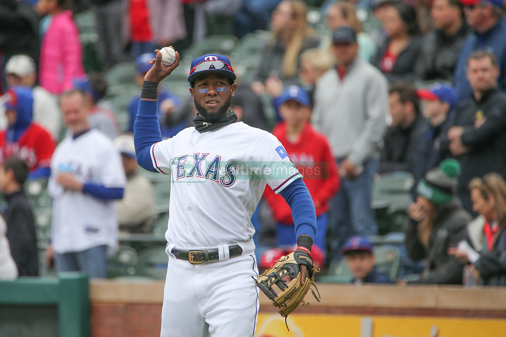 April 8, 2018 - Arlington, TX, U.S. - ARLINGTON, TX - APRIL 08: Texas Rangers infielder Jurickson Profar (19) throws the ball during the game between the Toronto Blue Jays and Texas Rangers on April 8, 2018 at Globe Life Park in Arlington, Texas. (Photo by George Walker/Icon Sportswire) (Credit Image: © George Walker/Icon SMI via ZUMA Press)