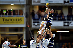 Matt Garvey of Bath Rugby wins the ball at a lineout - Mandatory byline: Patrick Khachfe/JMP - 07966 386802 - 10/10/2015 - RUGBY UNION - The Recreation Ground - Bath, England - Bath Rugby v Exeter Chiefs - West Country Challenge Cup.