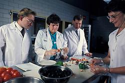Team of food technicians examine fresh vegetables.