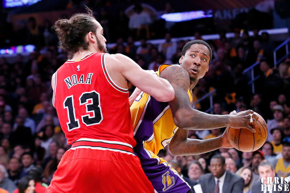 29 January 2015: Chicago Bulls center Joakim Noah (13) defends on Los Angeles Lakers forward Ed Davis (21) during the Los Angeles Lakers 123-118 2OT victory over the Chicago Bulls, at the Staples Center, Los Angeles, California, USA.