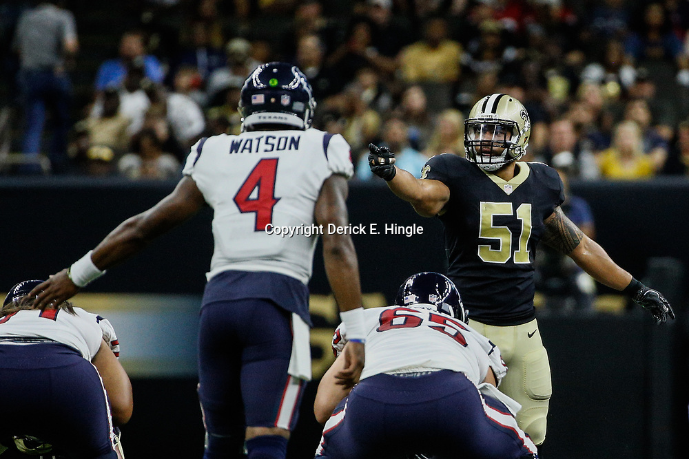 Aug 26, 2017; New Orleans, LA, USA; New Orleans Saints linebacker Manti Te'o (51) lines up as Houston Texans quarterback Deshaun Watson (4) prepares for a snap during the second quarter of a preseason game at the Mercedes-Benz Superdome. Mandatory Credit: Derick E. Hingle-USA TODAY Sports