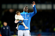 Everton defender Kurt Zouma (5) waves to the Everton fans during the Premier League match between Everton and Burnley at Goodison Park, Liverpool, England on 3 May 2019.
