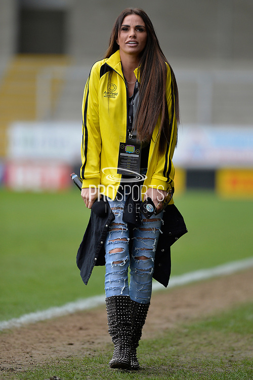 Katie Price during the Sellebrity Soccer match between Katie Price XI and Kerry Katona XI at the Pirelli Stadium, Burton upon Trent, England on 29 April 2018. Picture by Richard Holmes.