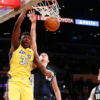 02 October 2017: Los Angeles Lakers center Thomas Bryant (31) dunks the ball over Denver Nuggets center Nikola Jokic (15) during the Denver Nuggets 113-107 victory over the LA Lakers, at the Staples Center, Los Angeles, California, USA.