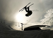 NEWS&GUIDE PHOTO / PRICE CHAMBERS.Jackson Tisi flips of a jump at the Rail Jam on Wednesday evening at Snow King.