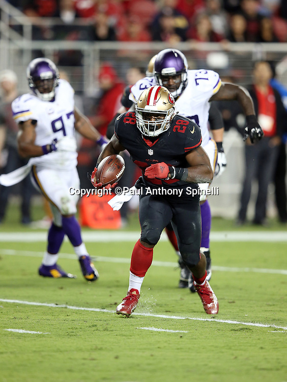 San Francisco 49ers quarterback Colin Kaepernick (7) reverses field and runs for a 10 yard second quarter touchdown and a 7-0 Niners lead during the 2015 NFL week 1 regular season football game against the Minnesota Vikings on Monday, Sept. 14, 2015 in Santa Clara, Calif. The 49ers won the game 20-3. (©Paul Anthony Spinelli)
