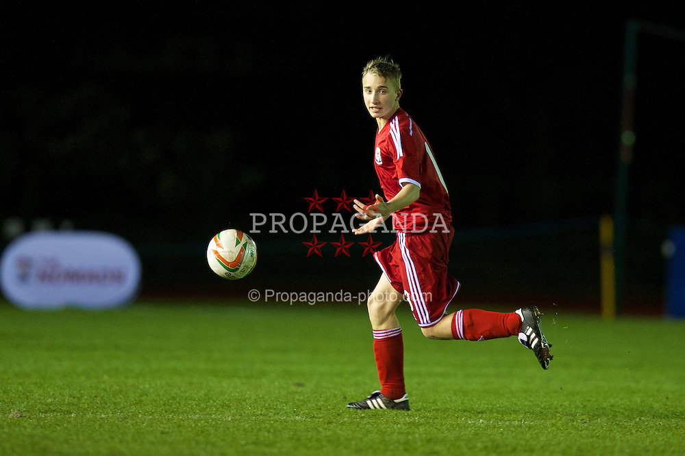 CONNAH'S QUAY, WALES - Thursday, March 20, 2014: Wales' Joshua Williams in action against Poland during the Under-15's International Friendly match at the Deeside Stadium. (Pic by David Rawcliffe/Propaganda)