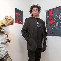 Jarlath Slattery with his sculpture and art work at the Art exhibition at the Courthouse Gallery Ennistymon