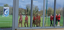 CARDIFF, WALES - Thursday, April 4, 2019: Wales players reflected in windows of the Cardiff Blues gym during a pre-match team walk at the Vale Resort ahead of an International Friendly match between Wales and Czech Republic at Rodney Parade. (Pic by David Rawcliffe/Propaganda)