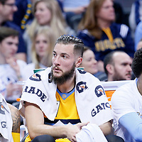 04 March 2016: Denver Nuggets guard D.J. Augustin (12), Denver Nuggets center Joffrey Lauvergne (77) and Denver Nuggets forward Axel Toupane (6) are seen on the bench during the Brooklyn Nets 121-120 victory over the Denver Nuggets, at the Pepsi Center, Denver, Colorado, USA.