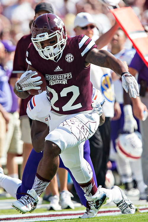 STARKVILLE, MS - SEPTEMBER 19:  Malik Dear #22 of the Mississippi State Bulldogs runs the ball and is tackled by Lyn Clark #5 of the Northwestern State Demons at Davis Wade Stadium on September 19, 2015 in Starkville, Mississippi.  The Bulldogs defeated the Demons 62-13.  (Photo by Wesley Hitt/Getty Images) *** Local Caption *** Malik Dear; Lyn Clark