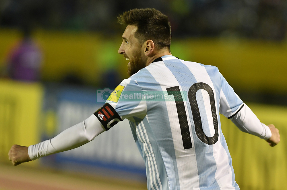 QUITO, Oct. 11, 2017  Argentina's Lionel Messi celebrates after scoring during the FIFA World Cup 2018 qualifier match against Ecuador, at Atahualpa Olympic Stadium, in Quito, Ecuador, on Oct. 10, 2017.  ma) (ce) (Credit Image: © Str/Xinhua via ZUMA Wire)
