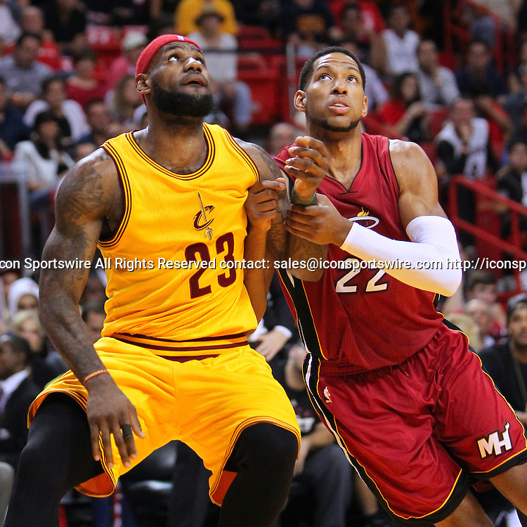 Dec. 25, 2014 - Miami, FL, USA - Cleveland Cavaliers forward LeBron James (23) fights for position under the basket against Miami Heat forward Danny Granger (22) during the fourth quarter of an NBA basketball game on Dec. 25, 2014 at the AmericanAirlines Arena in Miami. The Heat won 101-91