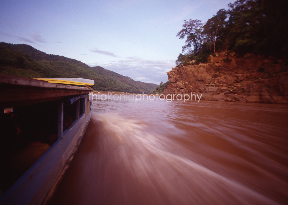 A journey on a slow boat on the Mekong, Laos.