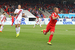 24.09.2014, Voith Arena, Heidenheim, GER, 2. FBL, 1. FC Heidenheim vs 1. FC Nuernberg, 7. Runde, im Bild Marc Schnatterer (1.FC Heidenheim) jubelt nach dem 1:0 // during the 2nd German Bundesliga 7th round match between 1. FC Heidenheim and 1. FC Nuernberg at the Voith Arena in Heidenheim, Germany on 2014/09/24. EXPA Pictures © 2014, PhotoCredit: EXPA/ Eibner-Pressefoto/ Langer<br /> <br /> *****ATTENTION - OUT of GER*****