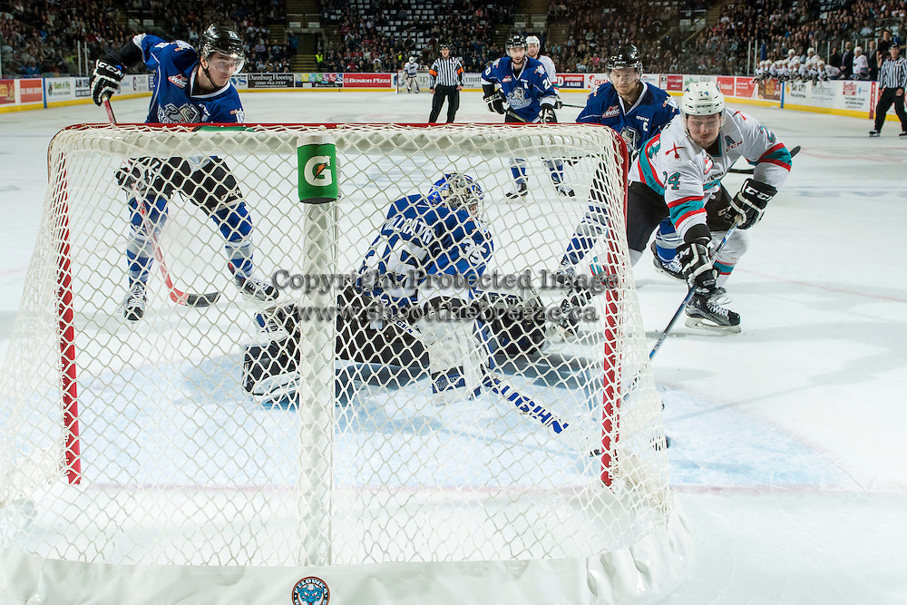 KELOWNA, CANADA - APRIL 14: Tyson Baillie #24 of Kelowna Rockets tries to put the puck past Coleman Vollrath #35 of Victoria Royals during the first period on April 14, 2016 at Prospera Place in Kelowna, British Columbia, Canada.  (Photo by Marissa Baecker/Shoot the Breeze)  *** Local Caption *** Coleman Vollrath; Tyson Baillie;