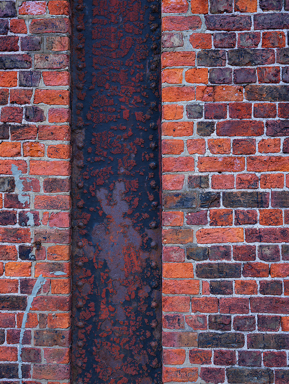 Brick and steel detail from the dock yards of Liverpool in the UK