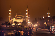 ISTANBUL, TURKEY - NOVEMBER 24, 2003: EID AL FITR, the end of the ramadan is celebrated with the yearly Sugar feast. --The blue Mosque--