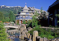 Village park stream, as seen before Millennium Place was built, in Whistler Village, summer