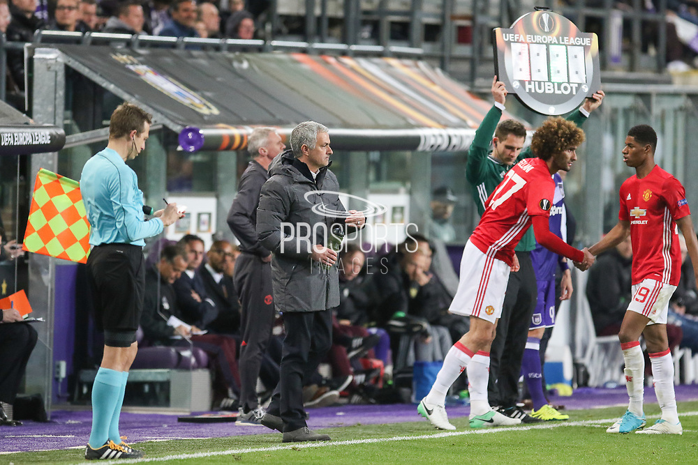 Jose Mourinho Manager of Manchester United Manager brings Marouane Fellaini Midfielder of Manchester United on as substitute replacing Marcus Rashford Forward of Manchester United during the UEFA Europa League Quarter-final, Game 1 match between Anderlecht and Manchester United at Constant Vanden Stock Stadium, Anderlecht, Belgium on 13 April 2017. Photo by Phil Duncan.