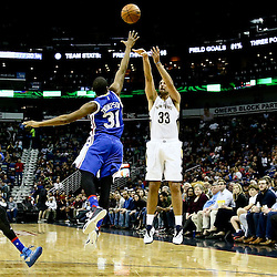 Feb 19, 2016; New Orleans, LA, USA; New Orleans Pelicans forward Ryan Anderson (33) shoots over Philadelphia 76ers guard Hollis Thompson (31) during the second quarter of a game at the Smoothie King Center. Mandatory Credit: Derick E. Hingle-USA TODAY Sports