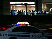 Police officers and family members gather at Rochester General Hospital after a Rochester Police Officer was shot in Rochester, New York on Thursday, September 4, 2014. Police Chief Michael Ciminelli confirmed that the officer was fatally shot around 9:30 p.m. Officer Daryl Pierson, 32, was shot and killed. In May 2015, Thomas Johnson III was convicted of aggravated murder of a police officer.