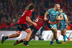 Matt Kvesic of Exeter Chiefs is tackled by CJ Stander of Munster Rugby - Mandatory by-line: Ken Sutton/JMP - 19/01/2019 - RUGBY - Thomond Park - Limerick,  - Munster Rugby v Exeter Chiefs -