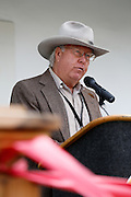 Roger Skuse talks about the restoration process during the Alviso Adobe Park opening ceremony at Alviso Adobe Park in Milpitas, California, on March 16, 2013. (Stan Olszewski/SOSKIphoto)