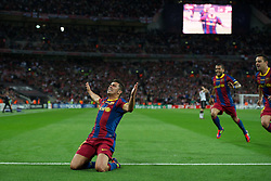 28.05.2011, Wembley Stadium, London, ENG, UEFA CHAMPIONSLEAGUE FINALE 2011, FC Barcelona (ESP) vs Manchester United (ENG), im Bild FC Barcelona's David Villa celebrates scoring the third goal against Manchester United during the UEFA Champions League Final at Wembley Stadium, EXPA Pictures © 2011, PhotoCredit: EXPA/ Propaganda/ Chris Brunskill *** ATTENTION *** UK OUT!