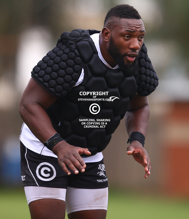 DURBAN, SOUTH AFRICA, January 2016 - Tendai Beast Mtawarira during The Cell C Sharks Pre Season training Tuesday 12th January 2016,for the 2016 Super Rugby Season at Growthpoint Kings Park in Durban, South Africa. (Photo by Steve Haag)<br /> images for social media must have consent from Steve Haag