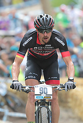 01.06.2014, Bullentaele, Albstadt, GER, UCI Mountain Bike World Cup, Cross Country Herren, im Bild Jochen Kass Deutschland // during Mens Cross Country Race of UCI Mountainbike Worldcup at the Bullentaele in Albstadt, Germany on 2014/06/01. EXPA Pictures © 2014, PhotoCredit: EXPA/ Eibner-Pressefoto/ Langer<br /> <br /> *****ATTENTION - OUT of GER*****