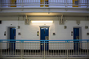 Cell doors on Grenville wing, HMP/YOI Portland, a resettlement prison with a capacity for 530 prisoners. Dorset, United Kingdom.
