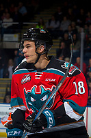 KELOWNA, CANADA - NOVEMBER 25: Carsen Twarynski #18 of the Kelowna Rockets skates against the Medicine Hat Tigers on November 25, 2017 at Prospera Place in Kelowna, British Columbia, Canada.  (Photo by Marissa Baecker/Shoot the Breeze)  *** Local Caption ***